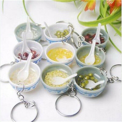 Food Simulation Key Chains Chinese Blue and white porcelain Food Bow 1PC