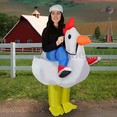 Adult Inflatable Chicken Costume Party Fancy Dress Blow Up Outfit For Easter Egg
