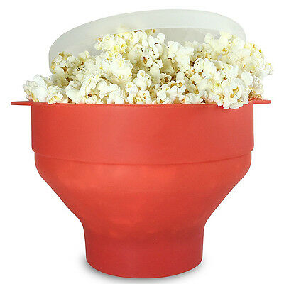 1xMicrowave Silicone Popcorn Popper Maker Collapsible Bowl Kitchen Tool Home DIY