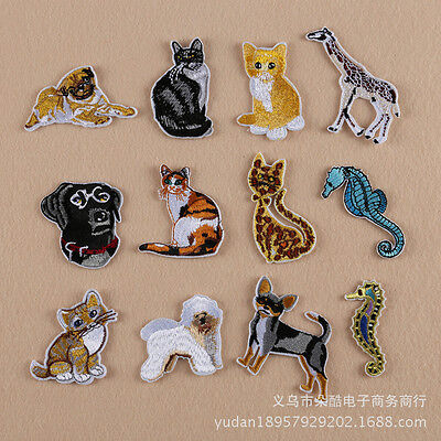 10pcs/set Animal Cat Wolves Clothing Accessories Embroidery Patch Iron/Sew On