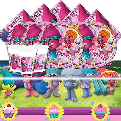 Trolls Movie Children's Birthday Tableware Party Pack Kit For 8 or 16 Guests
