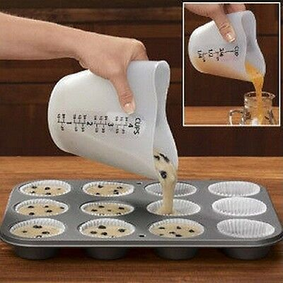 Baking Kitchen Silicone Cupcake Flour Measuring Cup With Double Scales Stir Pour