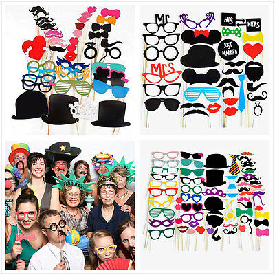 Photo Booth Props on a Stick Mustache Hat Glass Party Birthday Wedding Christmas