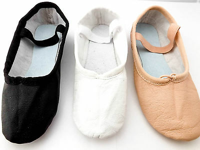Leather Ballet Dance Shoes Full Sole Adult's and Children's Sizes
