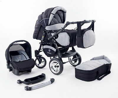 "TriBeCe ""Sun"" pram pushchair Travel System 3in1 front swivel wheels ALL IN ONE"