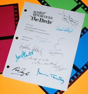 The Birds Signed Script Rpt Alfred Hitchcock, Tippi Hedren, Rod Taylor