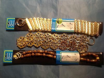 3 Assortd Vintage Brass/Gold Metal Drapery Curtain CONSO TIE BACK Hook Chain NEW
