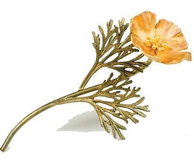 California Poppy Pin Brooch By Michael Michaud - 24k Gold Plate #5786BZYP