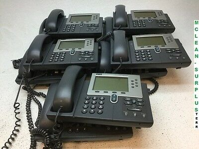 Lot of 10 Cisco 7961 VoIP Business Office Phones w/ Handsets and Stands Reset