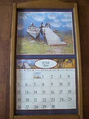 "Vintage Oak Wooden Wall Calendar Holder - HOLDS Large 13"" X 22"" CALENDAR"