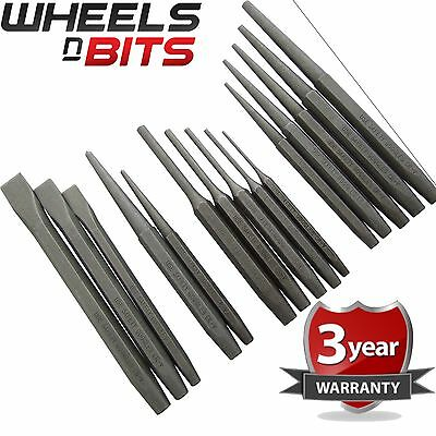 Heavy Duty 16pc Mechanics Engineering Punch & Chisel Set Pin Taper Cold Centre