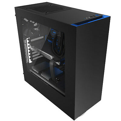Nzxt Source 340 Black Blue Usb3.0 Tower Pc Gaming Computer Case Side & Window