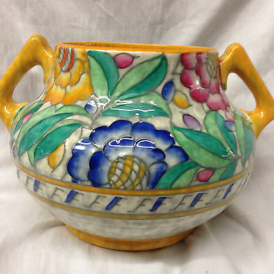 Charlotte Rhead Crown Ducal Persian Rose Vase Multicolored Flowers Art Pottery