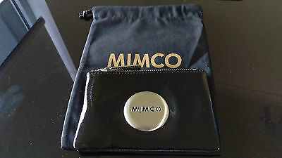 Genuine Mimco Love Black Patent leather Silver Small Pouch Clutch Wallet Purse