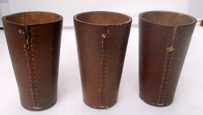 3 Vintage French Casino Stitched Leather Dice Shaker Cups !