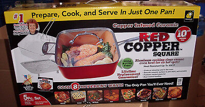 Red Copper Chef Square Pan 5 Piece Set Cookware Pans  As seen on Tv