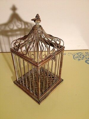 """Fancy Iron Bird Cage - Hinged Domed Top 16"""" Tall - Heavy & Sturdy"""