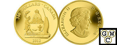 2012 'Nunavut Coat of Arms' Proof $300 Gold Coin 14K (13063)