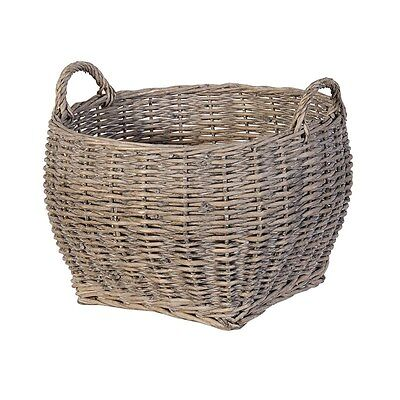 Grey Wash Sturdy Willow Wicker Laundry Log Toy Storage Carrier Basket Handles