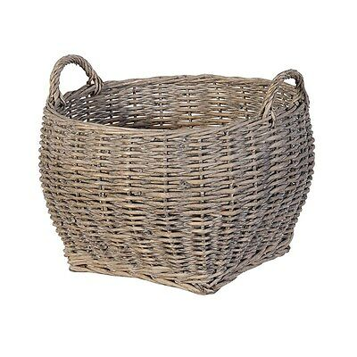 XL Grey Wash Sturdy Willow Wicker Laundry Log Toy Storage Carrier Basket Handles
