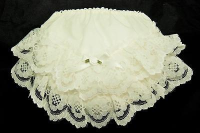 Baby Girls Ivory Frilly Lace Knickers Christening Occasion S M L XL XXL 0-24m