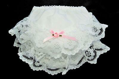 Baby Girls White / Pink Frilly Lace Baby Knickers Sizes S 0-3m upto XXL 18-24m
