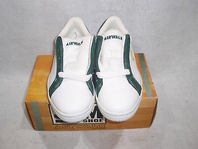 Nos Vintage 1994 Airwalk The Jim Shoe White/green Leather Size 5 Sk8 Bmx Shoes