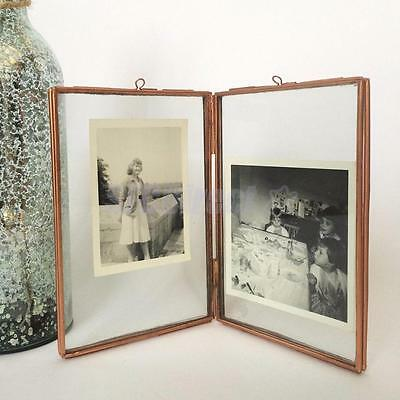 FREESTANDING PICTURE FRAME Antique Brass Double Sided Glass 3.5 x 5 ...
