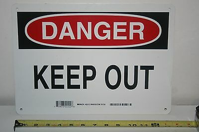 "DANGER Keep Out Sign - OSHA Safety SIGN 14"" x 10"" BRADY # 22112 New"