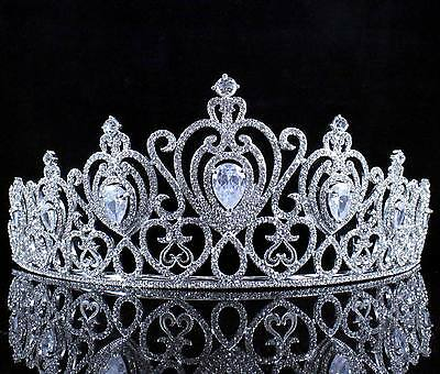 CZ Stone & Clear Austrain Crystal Rhinestone Tiara Hair Combs Crown Bridal T804