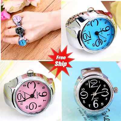 Creative Fashion Steel Round Elastic Quartz Finger Ring Watch Lady Girl Gift ZR