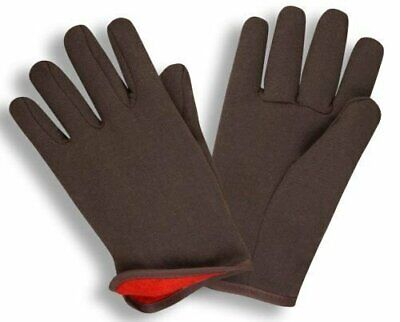 G & F 4414 Brown Jersey Winter WorkGloves with Red Fleece Lined, Large, 12 Pairs