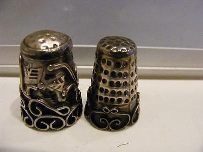 Lot of 2 Antique Repousse Ornate STERLING SILVER THIMBLES Minerva France Mexico