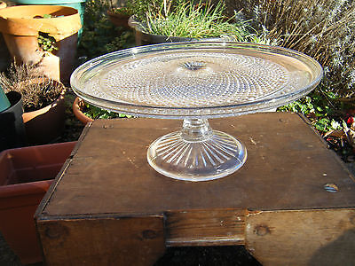 Vintage Beautiful Quality Pressed Glass Cake Stand