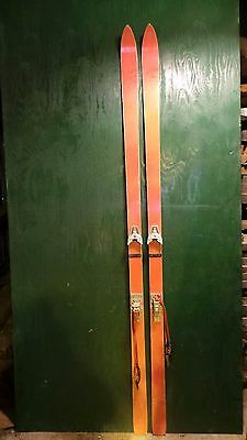 """INTERESTING OLD Wooden RED Skis 84"""" Long with Metal Bindings"""