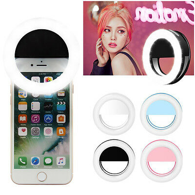 Rechargeable Portable Selfie LED Ring Fill Light for iPhone Android Phone Camera