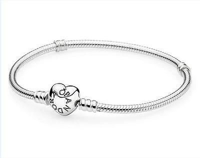 Fashion Heart Clasp Silver Snake Chain Bracelet Fit European Charm Beads