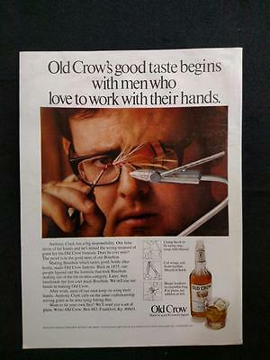1971 Old Crow Kentucky Straight Bourbon Whiskey Vintage Print Ad 86 Proof