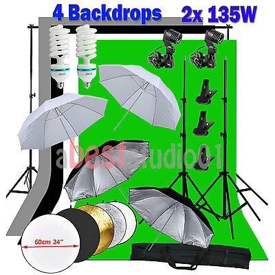 Photo Video Studio Lighting Photography 4 Backdrops Reflector Stand Light Kit US