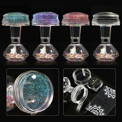 1Set Clear Jelly Nail Art Stamping Plate Stamper & Scraper Manicure DIY Tool Kit