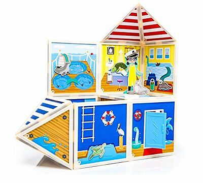 Marine Rescue Center magnetic building set w/ adventurous wooden character 48 pc