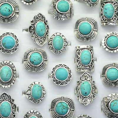 New Vintage Bohemian Adjustable Blue Turquoise Stone Ring. Various Designs.