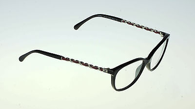 NEW CHANEL Black Silver Chain Rectangle Eye glass Frame Glasses  CH 3221Q c 1282