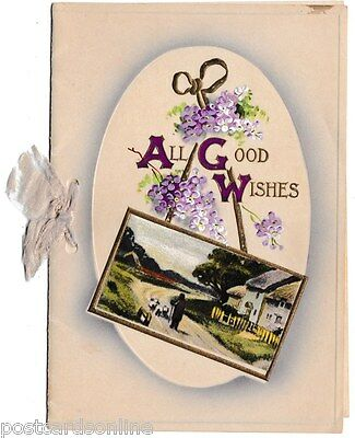 B8371pac Greetings All Good Wishes Village Scene vintage Greeting Card