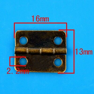 10x Bronze Tone 16mmx13mm Drawer Cabinet Door Hinges 4 Holes Hardware Decorative