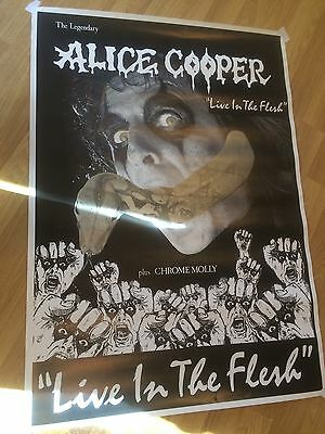 Vintage 1988 Alice Cooper Live In The Flesh Original Poster Getting Rare