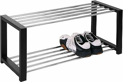 HomeTrends4You 838729 Shoe Bench 80 x 32 x 30 cm Black Chrome-Plated - UK SELLER