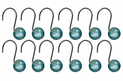 Premier Housewares Resin Shower Curtain Hooks - Set of 12, Turquoise