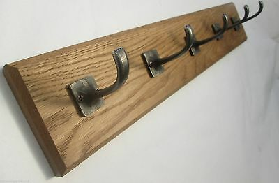 IRONMONGERY WORLD®9 sizes SOLID OAK WOODEN COAT RACK HOOKS HANGER UTILITY KITCHE