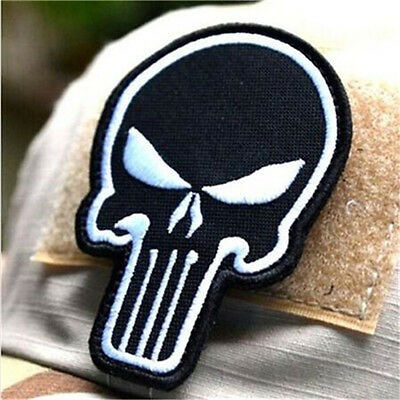 Black DIY Punisher Skull USA Military Army Tactical Morale Badge Patch